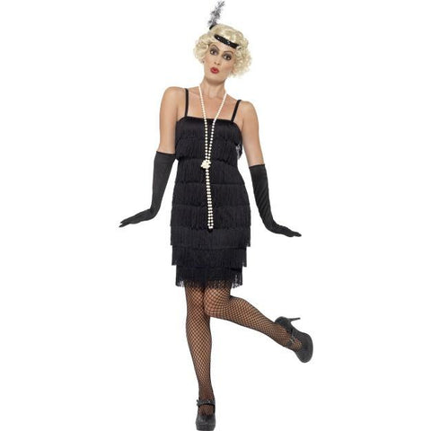 Women's Flapper Costume, Plus Size Black