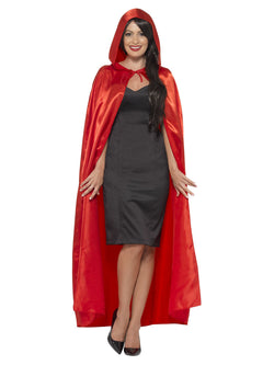 Satin Hooded Cape Red Colour
