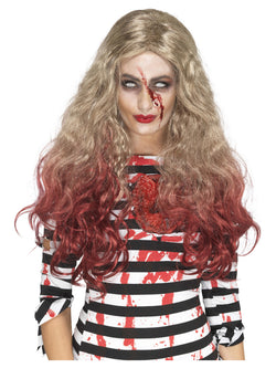 Blonde and Red Deluxe Zombie Blood Drip Wig