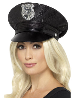 Black Fever Sequin Police Hat