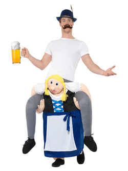 Piggyback Bavarian Beer Maiden Costume, Blue, One Piece Suit with Mock Legs