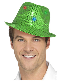 Light Up Sequin Trilby Hat - The Halloween Spot