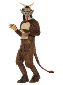 Deluxe Beast / Krampus Demon Costume, Brown, Long Pile Fur, Muscle Chest Top, Padded Trousers, Tail, Mask, Gloves & Hooves