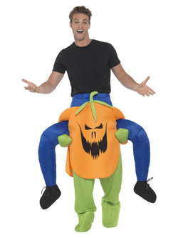 Piggyback Pumpkin Costume, Orange, One Piece Suit with Mock Legs