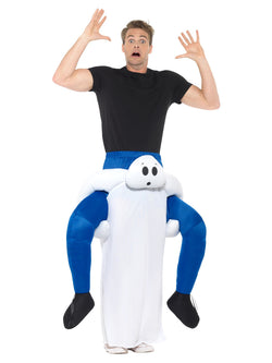 Piggyback Ghost Costume, White, One Piece Suit with Mock Legs