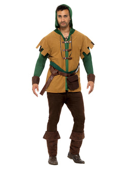 Robin Of The Hood Costume, Green, with Hooded Tunic, Attached Belt, Bootcovers & Bag