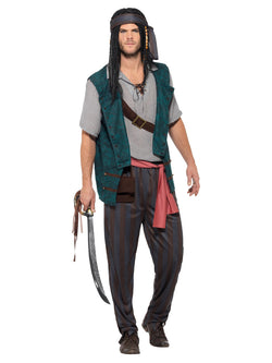 Pirate Deckhand Costume, Green, with Trousers, Shirt, Waistcoat, Tie, Pouch & Bandana