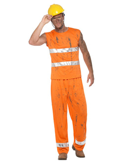 Miner Costume, Orange, with Trousers, Top & Hard Hat