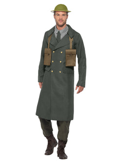 WW2 British Office Costume, Green, with Trench Coat, Mock Shirt, Tie & Ammo Pouch
