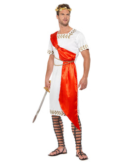 Roman Senator Costume, White & Red, with Toga, Belts & Drape
