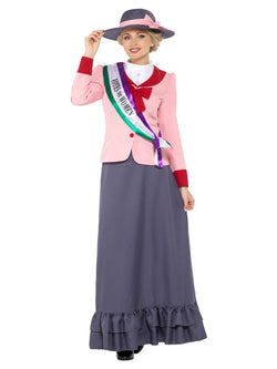 Deluxe Victorian Suffragette Costume, Grey & Pink, with Dress, Sash & Hat