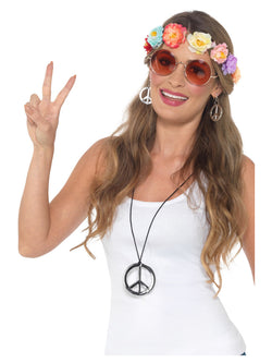 Hippie Festival Kit, Multi-Coloured, with Flower Headband, Glasses, Medallion & Earrings