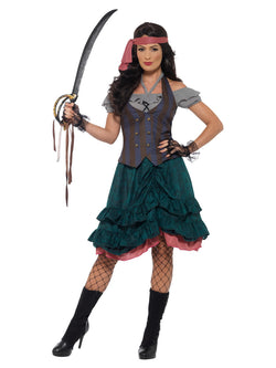Deluxe Pirate Wench Costume, Multi-Coloured, with Top, Attached Waistcoat, Skirt & Bandana