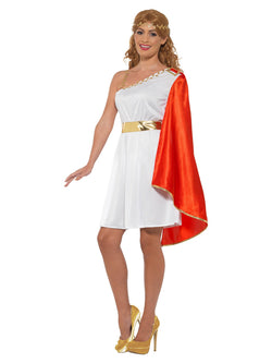 Roman Lady Costume, White & Red, with Short Dress & Headband