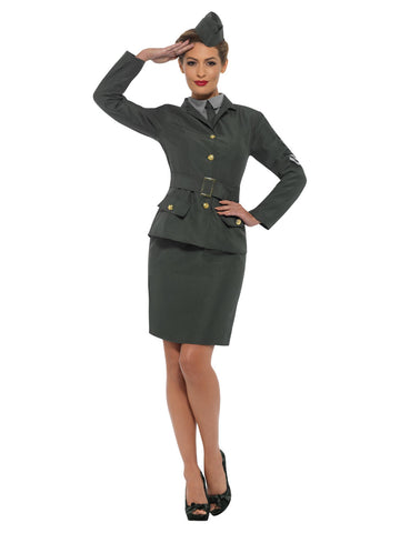 WW2 Army Girl Costume, Green, with Jacket, Mock Shirt, Skirt & Hat
