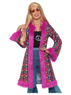 60s Psychedelic Hippie Coat, Pink, with Fur Trim