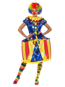 Deluxe Light Up Carousel Clown Costume, Multi-Coloured, with LED Hooped Dress, Headband & Neck Ruffle