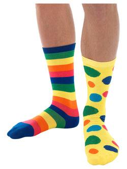 Big Top Clown Socks, Unisex, Multi-Coloured, with Spots & Stripes