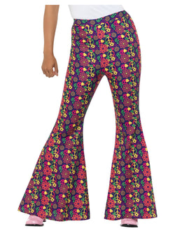 60s Psychedelic CND Flared Trousers, Ladies, Multi-Coloured