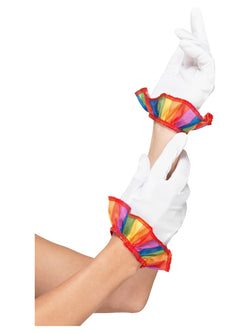 Clown Gloves, White, with Rainbow Frill