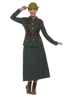 WW2 Army Warden Lady Costume, Green, with Jacket & Skirt