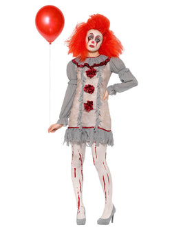 Vintage Clown Lady Costume, Grey & Red, with Dress & Neck Ruffle