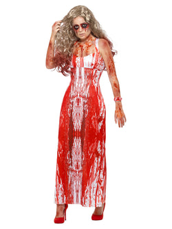 Bloody Prom Queen Costume, White & Red, with Dress & Wrist Corsage