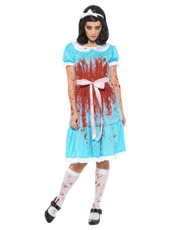 Bloody Murderous Twin Costume, Blue, with Dress, Socks & Headband