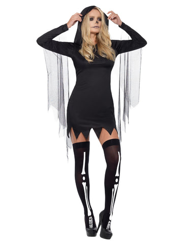 Fever Sexy Reaper Costume, Black, with Short Hooded Dress