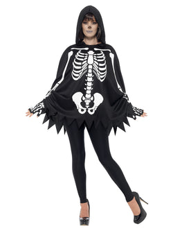 Skeleton Kit, Unisex, Black, with Poncho & Gloves