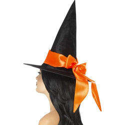Black Deluxe Witch Hat with Bow