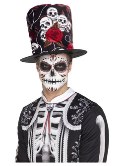 Day of the Dead Skull & Rose Top Hat - The Halloween Spot
