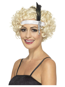 White Satin Charleston Headband - The Halloween Spot