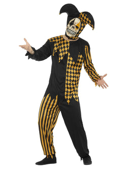 Black & Gold Evil Court Jester Costume
