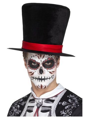 Black Men's Day of the Dead Top Hat