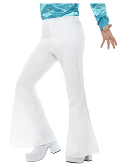 White Groovy Flared Trousers, Mens - The Halloween Spot