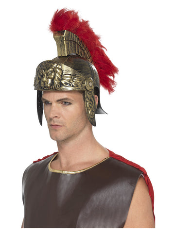 Roman Spartan Helmet, Gold & Red, Plastic, with Detachable Feather Plume