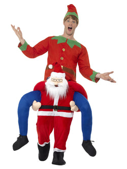 Piggyback Santa Costume, Red, One Piece Suit with Mock Legs