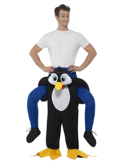 Piggyback Penguin Costume, Black, One Piece Suit with Mock Legs