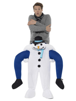 Piggyback Snowman Costume, White, One Piece Suit with Mock Legs