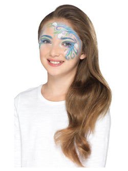 Smiffys Make Up FX, Kids Mythical Kit, Aqua, Multi-Coloured, with 5 Colours, Crayon, Glitter, Stickers, Sponge, Brush