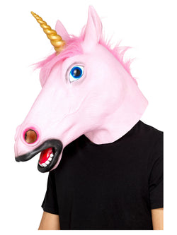 Unicorn Latex Mask, Pink, Full Overhead