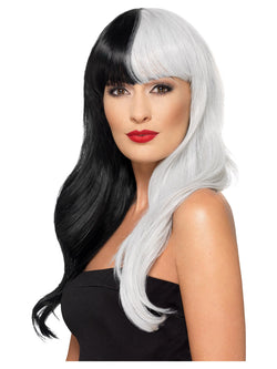 Deluxe Wig, Half & Half With Fringe, Black & Grey, Heat Resistant/ Styleable