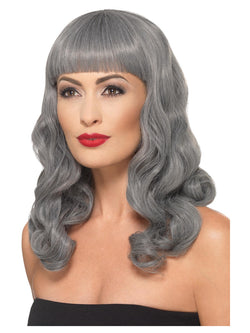 Deluxe Wig Wavy With Fringe, Grey, Heat Resistant/ Styleable