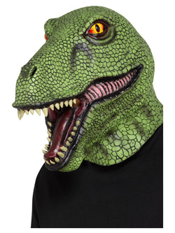 Dinosaur Latex Mask, Green, Full Overhead