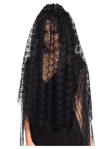 Black Widow Veil, Black, with Flowers