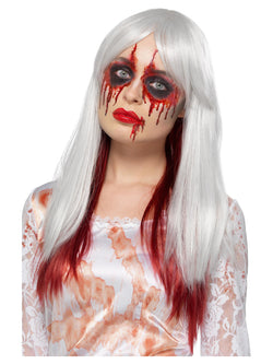 Deluxe Blood Drip Ombre Wig, White & Red, Heat Resistant/ Styleable