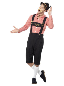 Bavarian Beer Guy Costume, Red, with Shirt & Mock Suede Lederhosen