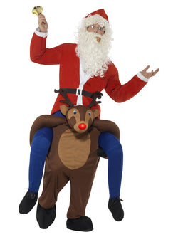 Piggyback Reindeer Rudolf Costume, Brown, One Piece Suit with Mock Legs & LED Flashing Nose