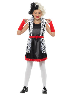 Evil Little Madame Costume, Black & White, with Dress, Attached Jacket & Gloves